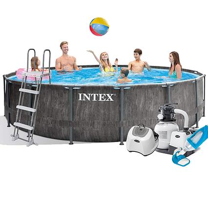 Каркасний басейн Intex 26742 - 11, 457 x 122 см (5 р/год, 6 000 л/год, сходи, тент, підстилка, набір для