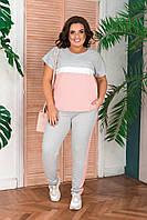 Женский спортивный костюм футболка и штаны Батал, фото 1