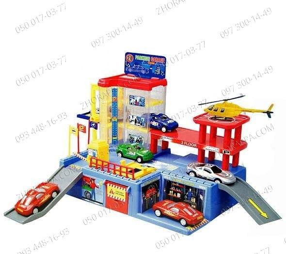 Гараж игрушка Паркинг 9889 с 4-мя машинками+ лифт+автоподъемник Трехуровневый паркинг для машинок Подарок