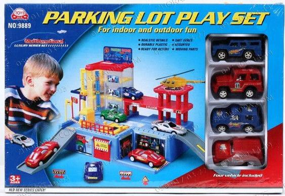 Гараж игрушка Паркинг 9889 с 4-мя машинками+ лифт+автоподъемник Трехуровневый паркинг для машинок Подарок, фото 2
