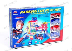 Гараж игрушка Паркинг 9889 с 4-мя машинками+ лифт+автоподъемник Трехуровневый паркинг для машинок Подарок, фото 3