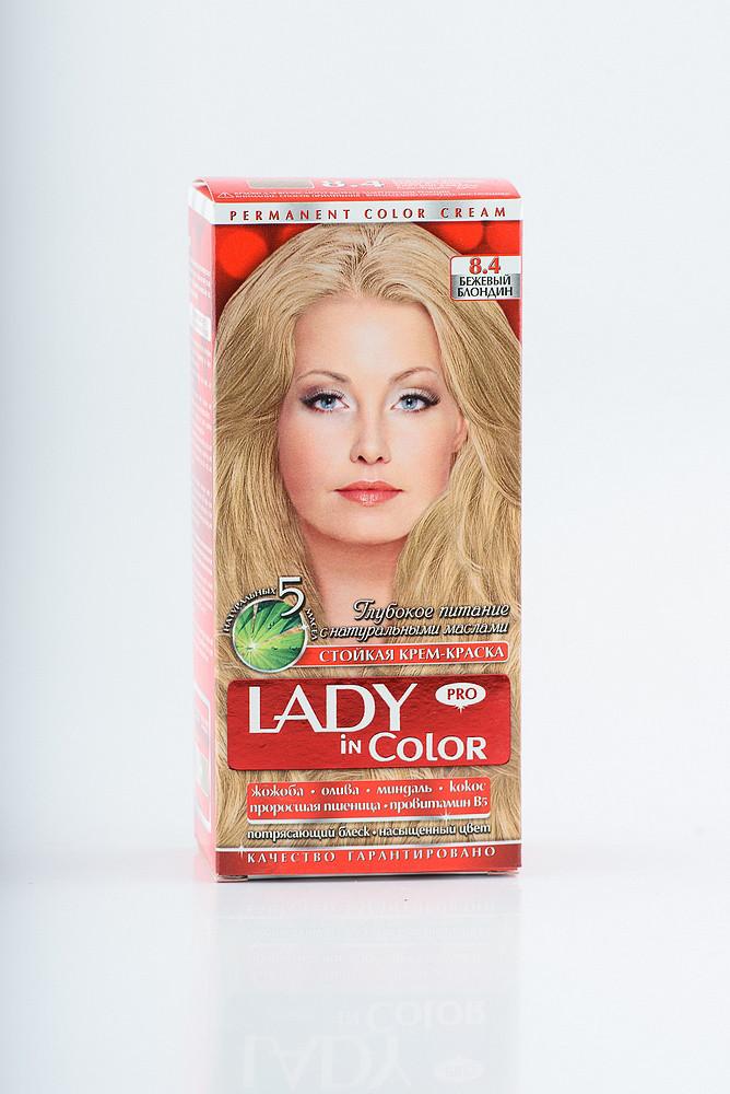Lady in color фарба для волосся №8.4 Бежевий блондин