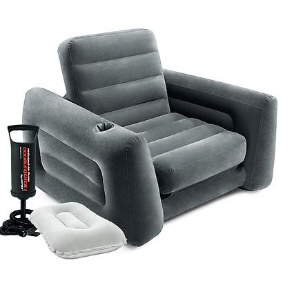 Надувне крісло Intex 66551-2, 224 х 117 х 66 см, з ручним насосом і подушкою , чорне