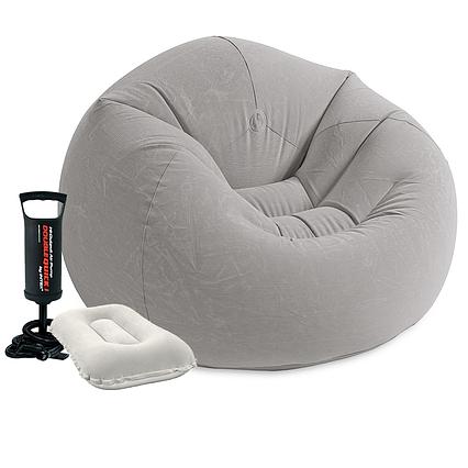 Надувне крісло Intex 68579-2, 107 х 104 х 69 см, з ручним насосом і подушкою