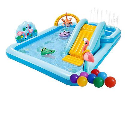 Надувний ігровий центр Intex 57161-1 «Пригоди джунглів», 257 x 216 x 84 см, з кульками 15 шт