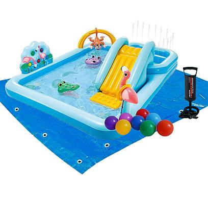 Надувний ігровий центр Intex 57161-2 «Пригоди джунглів», 257 x 216 x 84 см, з кульками 15 шт, підстилка,