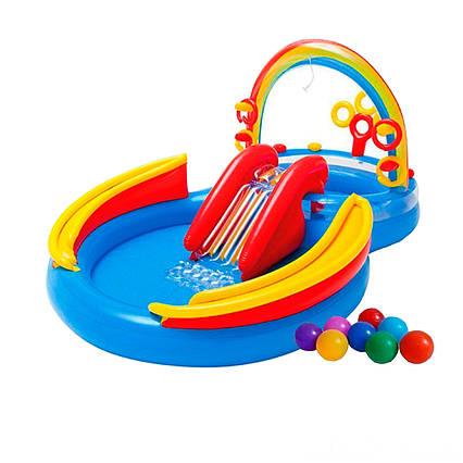 Надувний ігровий центр Intex 57453-1 «Веселка», 297 х 193 х 135 см, з кульками 16 шт