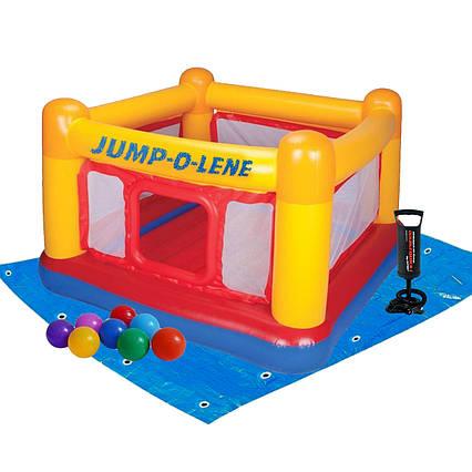 Intex надувний батут 48260-2 «Jump-O-Lene» , 174 х 174 х 112 см, з кульками 10 шт, підстилкою і насосом