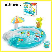 Детский надувной бассейн с горкой игровой центр АЛЛИГАТОР INTEX 201 x 170 x 84 см 57165