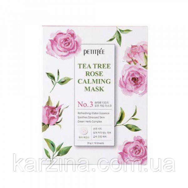 Успокаивающая маска для лица с экстрактом чайного дерева и розы Petitfee Tea Tree Rose Calming Mask