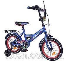 """Велосипед двоколісний Tilly Explorer 14"""" Blue Red (T-214112) страхувальні колеса, Р-образна захист ланцюга"""