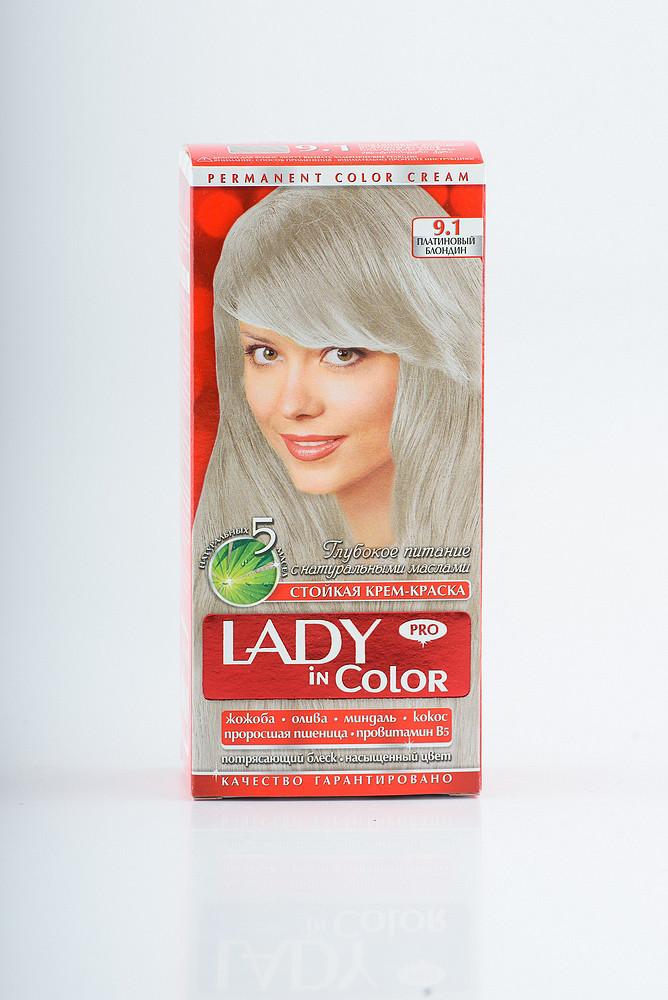 Lady in color фарба для волосся №9.1 Платиновий блондин