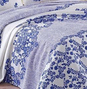 Покрывало пике Eponj Home - Hunkar mavi голубой вафельное 160*235