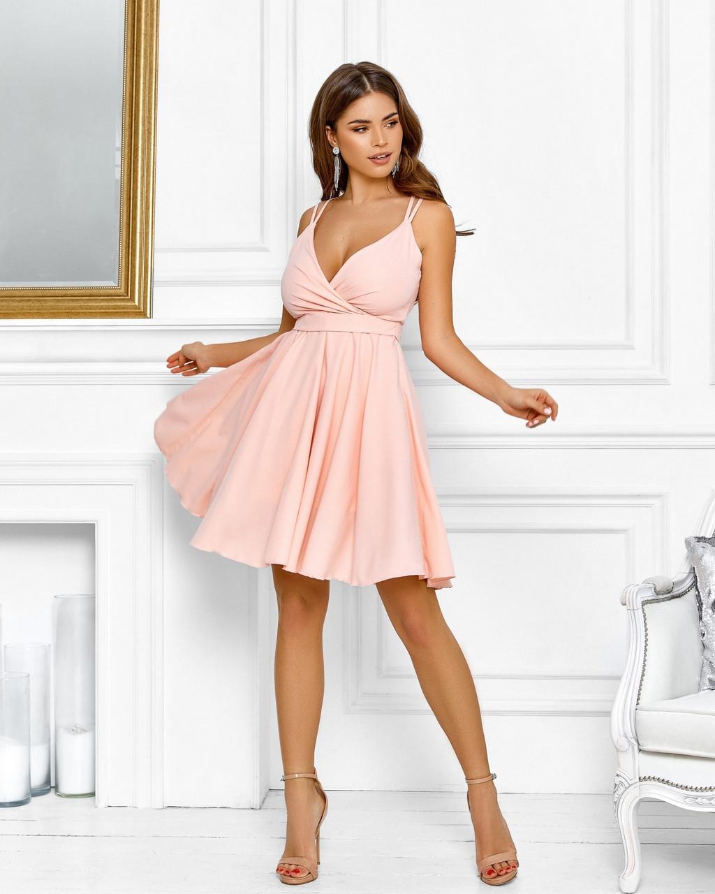 Нарядне жіноче плаття з красивим відкритим декольте, 00640 (Персиковий), Розмір 44 (M)
