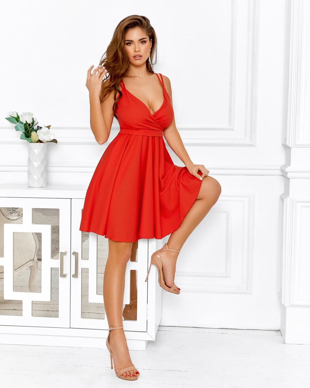 Великолепное платье на бретельках с чуть завышенной талией, 00642 (Красный), Размер 42 (S)