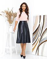 Женская стильная длинная юбка из эко-кожи, фото 1