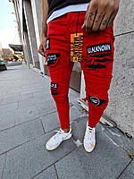 Модные мужские рваные джинсы MN Jeans красные - 31,33, 34, 36