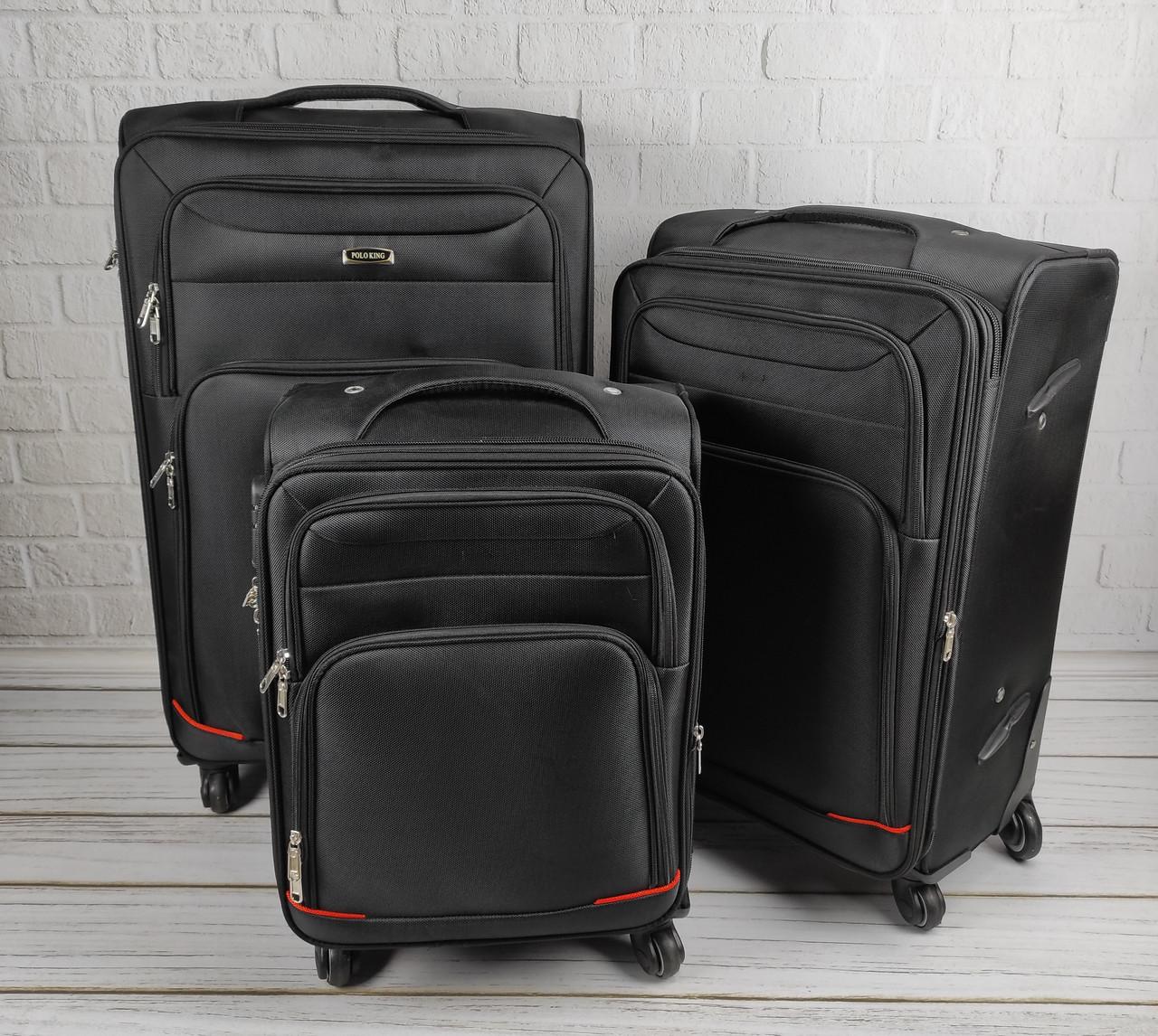 Комплект дорожных тканевых чемоданов 6311 (черный) из 3х шт на колесах