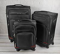 Комплект дорожных тканевых чемоданов 6311 (черный) из 3х шт на колесах, фото 1