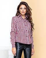 Жіноча стильна сорочка в клітку, фото 1
