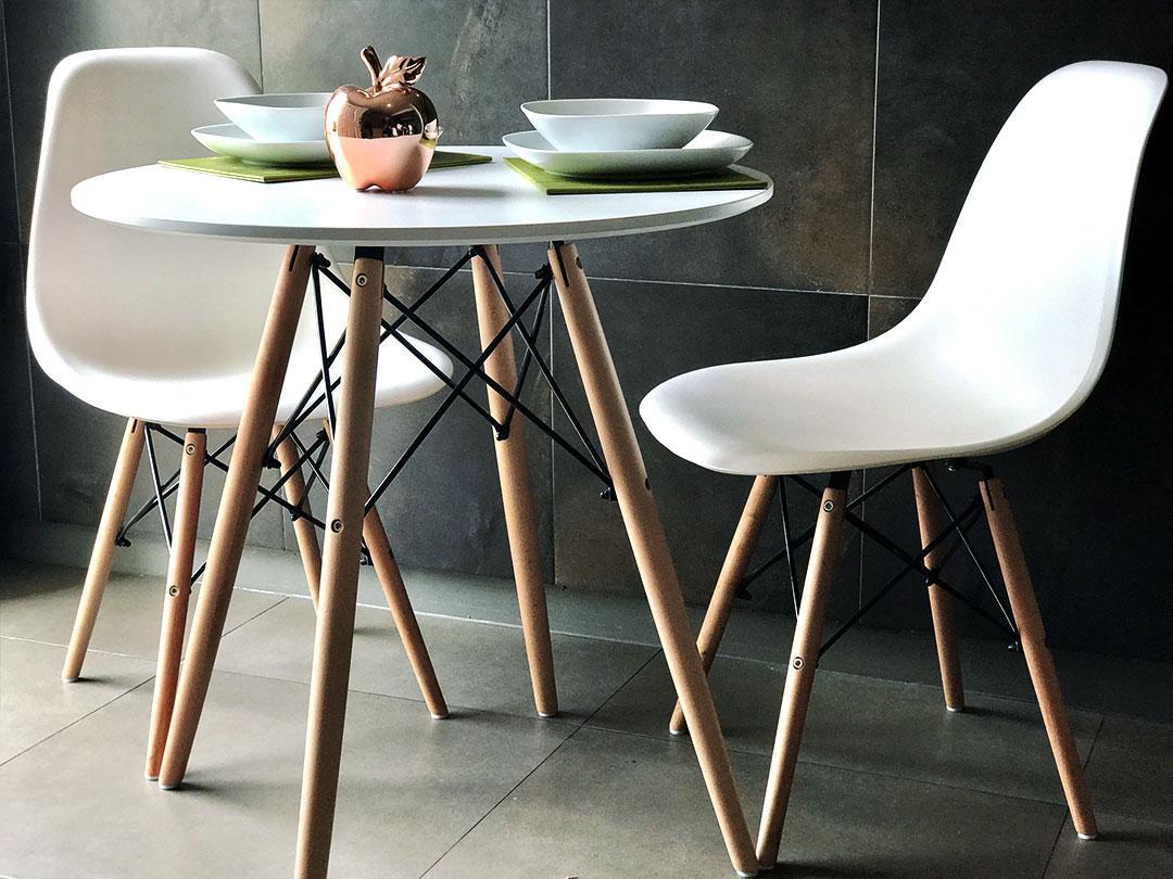 Стіл круглий білий на кухню, обідній стіл Signal Soho 80х80 см Білий (SOHOBBU)на букових ніжках
