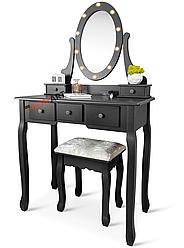 Туалетний столик із дзеркалом та підсвічуванням Homart Denver чорний + табурет (9360)