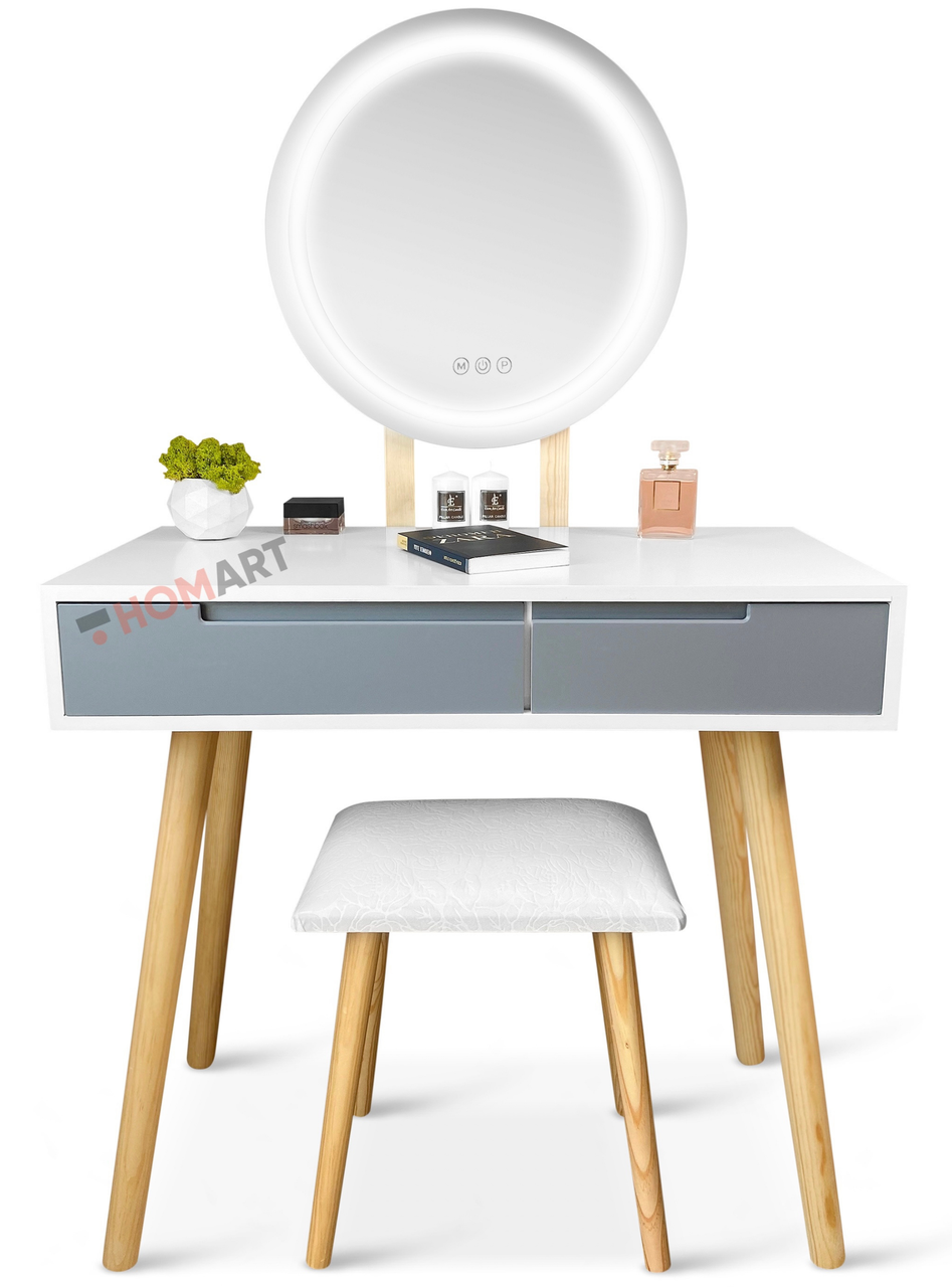 Уценка ! Туалетный столик c зеркалом и подсветкой Homart Mondi белый + табурет (9366)