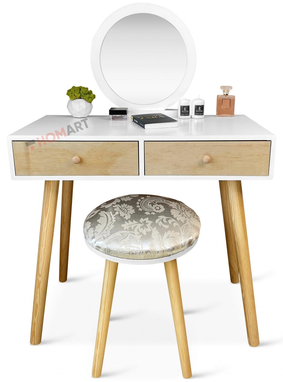 Уценка ! Туалетный столик детский c зеркалом Homart Woody белый + табурет (9365)