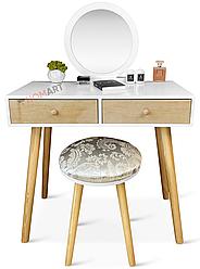 Туалетний столик із дзеркалом Homart Woody білий + табурет (9365)