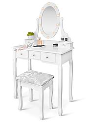 Туалетний столик з дзеркалом і підсвічуванням Homart Denver білий + табурет (9361)
