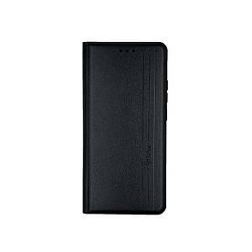 Чохол книжка для Samsung A02S A025 бічній з натуральної шкіри, Gelius, Vertical Lines, Чорний