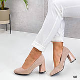 Женские туфли бежевые на каблуке 8,5 см эко-замш, фото 2