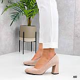 Женские туфли бежевые на каблуке 8,5 см эко-замш, фото 3