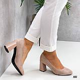 Женские туфли бежевые на каблуке 8,5 см эко-замш, фото 4