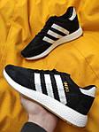 Мужские кроссовки Adidas Iniki Runner (черно-белые) D108 качественная стильная обувь, фото 2