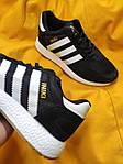 Мужские кроссовки Adidas Iniki Runner (черно-белые) D108 качественная стильная обувь, фото 8