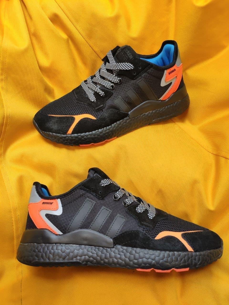 Мужские кроссовки Adidas Nite Jogger 3M (черный с оранжевым) D109 весенние стильные кроссы