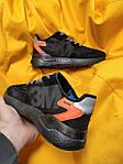 Мужские кроссовки Adidas Nite Jogger 3M (черный с оранжевым) D109 весенние стильные кроссы, фото 6