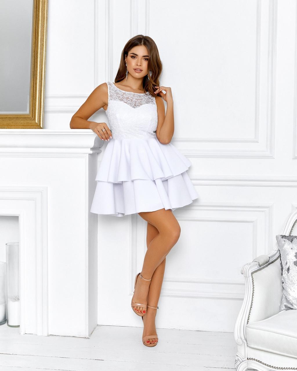 Роскошное платье с открытой спиной на выпускной юбка из неопрена, 00645 (Белый), Размер 44 (M)