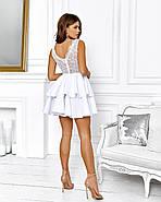 Роскошное платье с открытой спиной на выпускной юбка из неопрена, 00645 (Белый), Размер 44 (M), фото 5