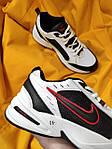 Мужские кроссовки Nike Air Monarch (бело-черно-красные) D110 модная обувь на летний сезон, фото 2