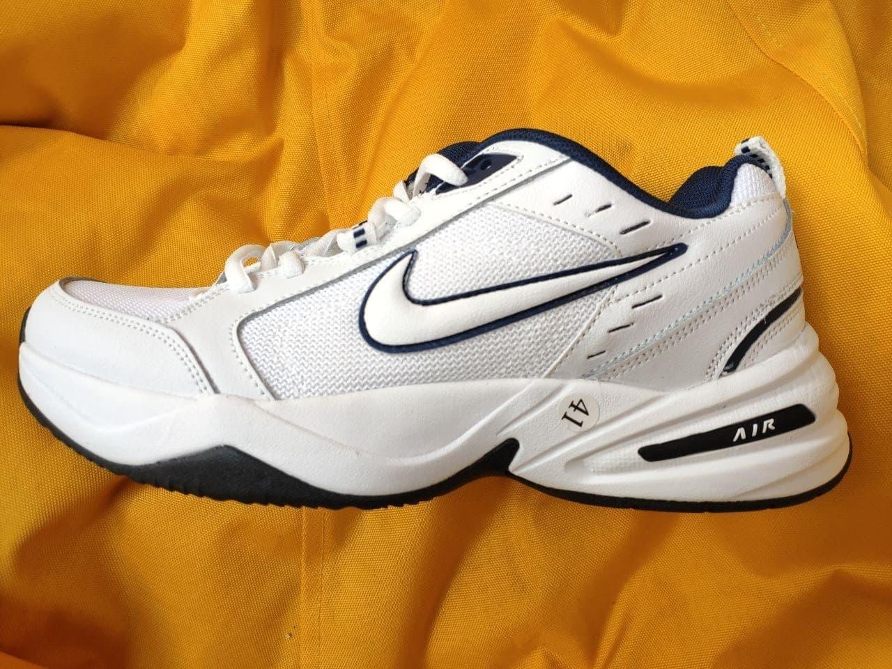 Мужские кроссовки Nike Air Monarch (бело-синие) D111 крутая обувь на летний сезон