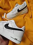 Женские кроссовки Nike Air Force Low (белые с черным) D112 крутая кожаная обувь, фото 4