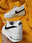 Женские кроссовки Nike Air Force Low (белые с черным) D112 крутая кожаная обувь, фото 6