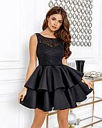 Нарядное короткое платье с двойным воланом на юбке, 00644 (Черный), Размер 44 (M), фото 2