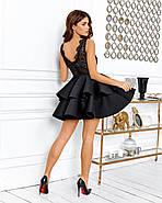 Нарядное короткое платье с двойным воланом на юбке, 00644 (Черный), Размер 44 (M), фото 3
