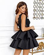 Нарядное короткое платье с двойным воланом на юбке, 00644 (Черный), Размер 44 (M), фото 4