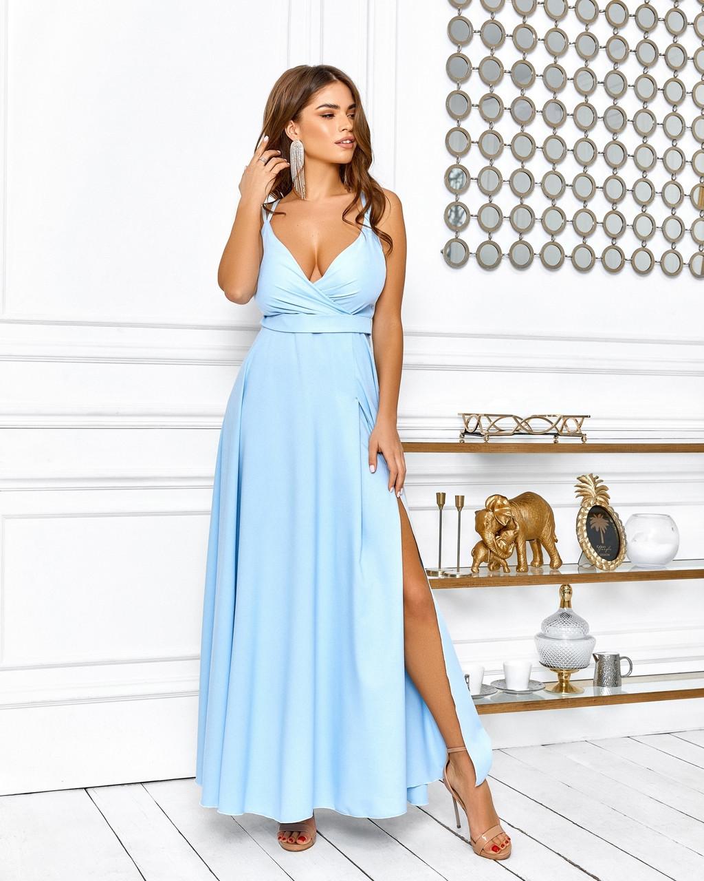Елегантне плаття довжина максі, на бретельках, 00648 (Голубий), Розмір 44 (M)