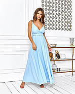 Елегантне плаття довжина максі, на бретельках, 00648 (Голубий), Розмір 44 (M), фото 3