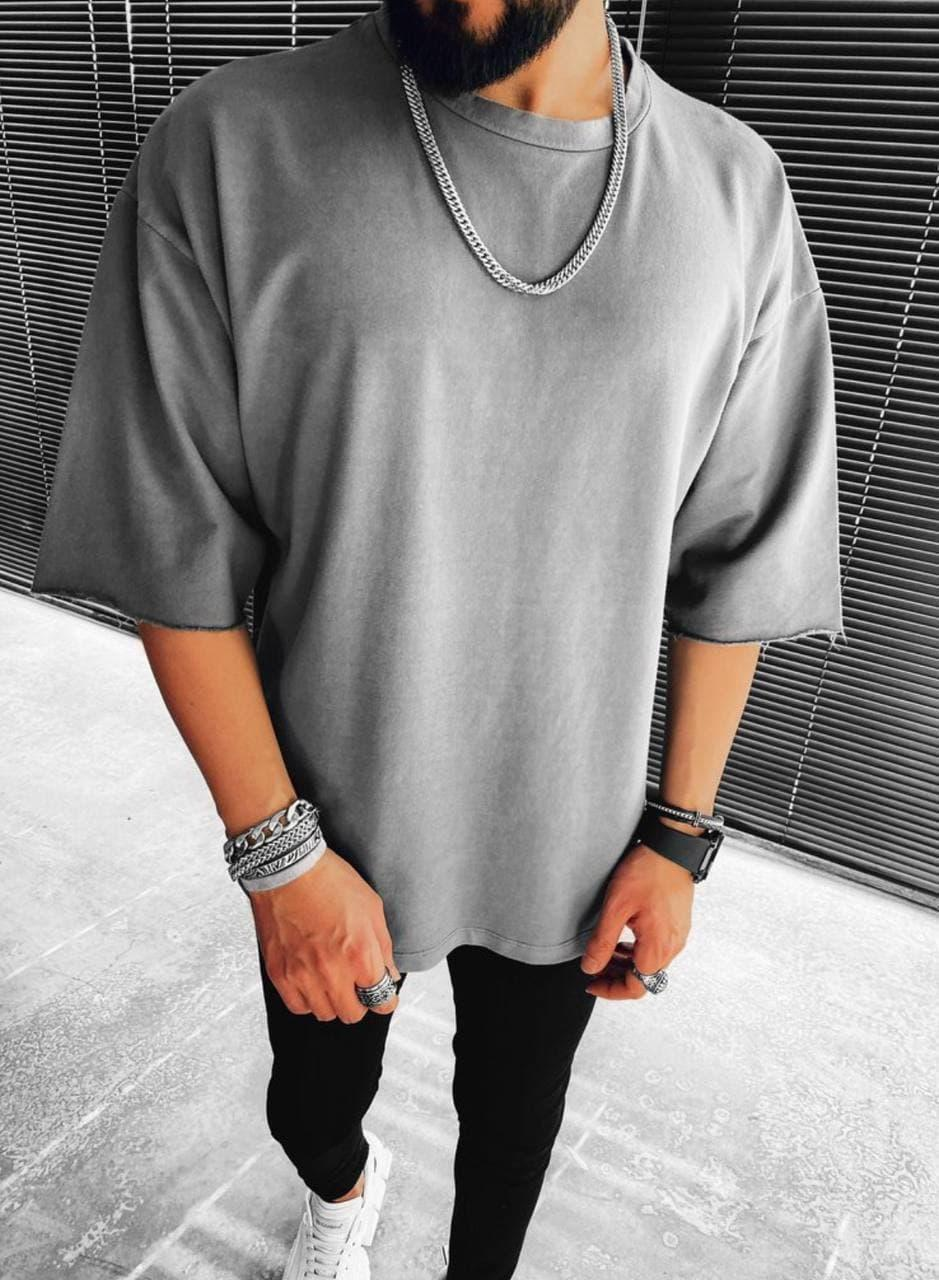 Чоловіча футболка оверсайз сіра